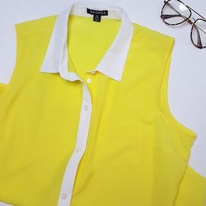 NWOT Yellow and White Sleeveless Blouse Size L
